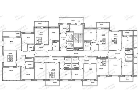 Планировки Жилой комплекс КОМСОМОЛЬСКИЙ  - Блок-секция 2. Планировка 11-19 этажей