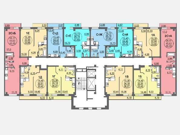 Планировки Жилой комплекс ЛЕТО, дом 3, б/с 1,2 - Блок-секция 2. Планировка 17 этажа
