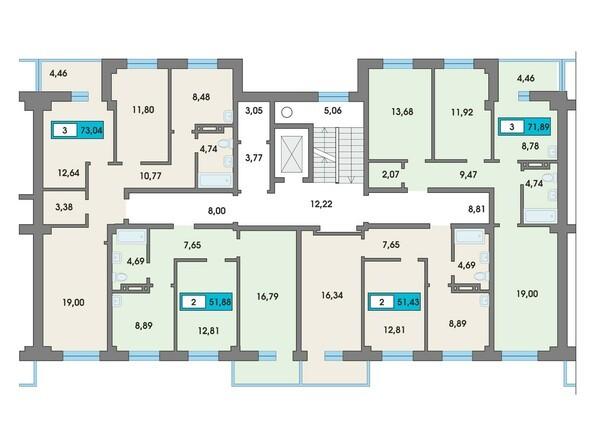 Планировки Жилой комплекс Сосновоборск, 7 мкр, 2 этап - Подъезд 5. Планировка типового этажа