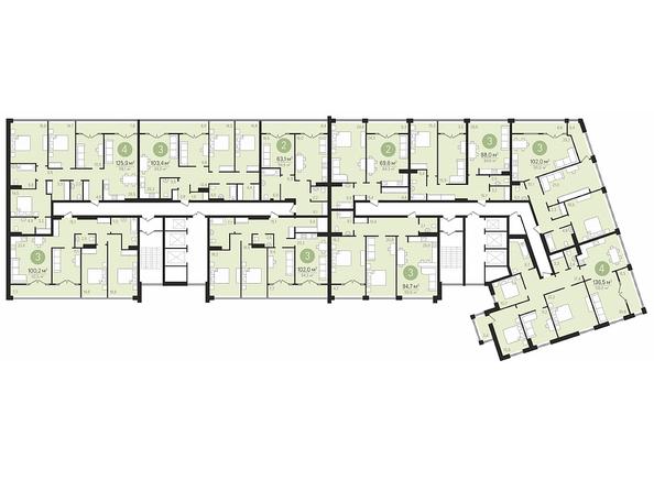 Планировки Жилой комплекс ПАНОРАМА, дом 3 - Планировка 16 этажа