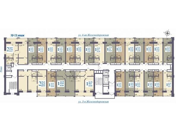 Планировки Жилой комплекс «ALMA MATER» (Альма Матер) - Планировка 10-13 этажей