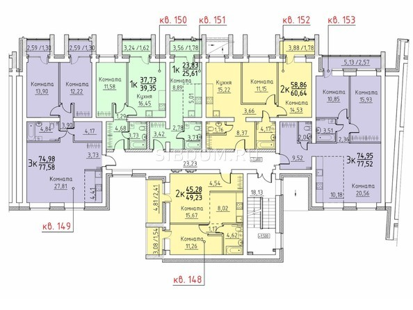 Подъезд 7. Планировка 2 этажа