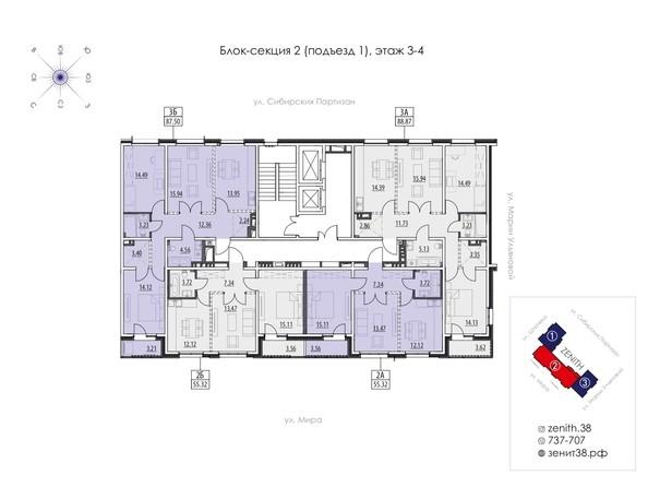 Подъезд 1. Планировка 3,4 этажа