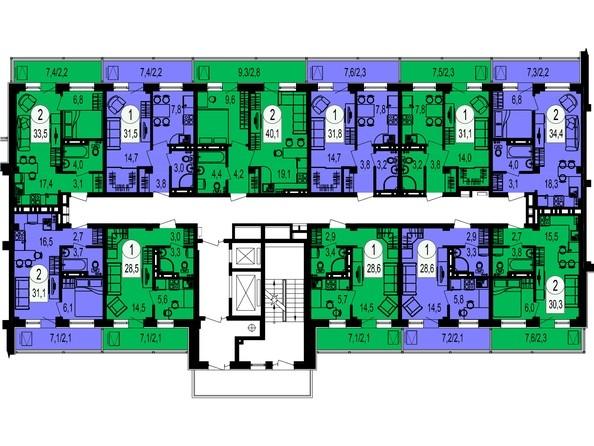 Планировки Жилой комплекс ТИХИЕ ЗОРИ, дом 1 (Красстрой) - Блок-секция 5. Этажи 14-19