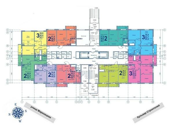 Планировки ВЕРХНИЙ БУЛЬВАР-2, дом 60, корпус 1 - Планировка 1 этажа