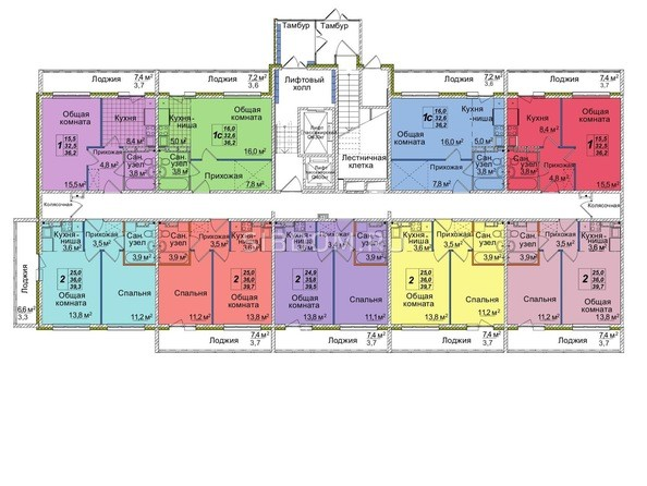 Планировки Жилой комплекс ВОСТОЧНЫЙ, 85/1б - Блок-секция 3. Этаж 1