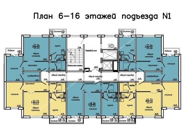 Планировки Жилой комплекс Иннокентьевский, 3 мкр, дом 3 - 1 подъезд, 6-16 этажи