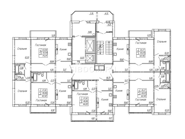 Планировки Жилой комплекс НА ОМСКОЙ - Подъезд 1. Планировка 4,5,7-10,15,16 этажей