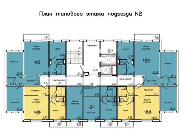 Планировки Жилой комплекс Покровский, 3 мкр, дом 4 - 2 подъезд, 2-14 этажи