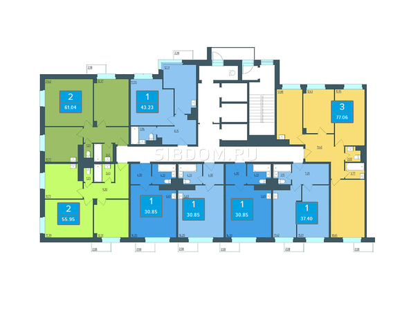 Планировки Жилой комплекс ПРЕОБРАЖЕНСКИЙ, дом 13 - Подъезд 2. Планировка 4 этажа