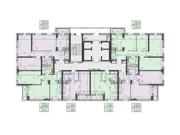 Планировки Жилой комплекс НА ВЫСОТЕ, 2 этап - Планировка 18, 20, 22 этажей