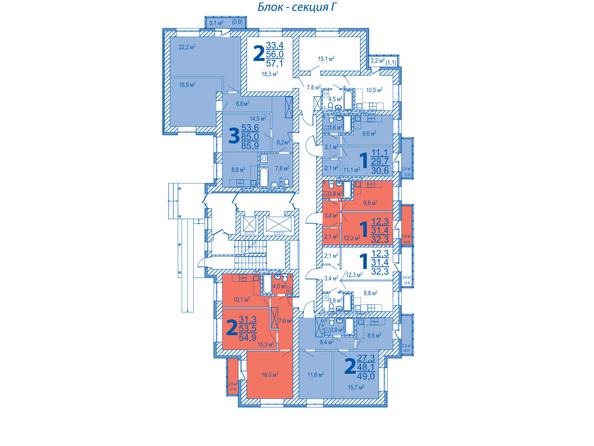 Планировки Жилой комплекс ВЕРХНИЙ БУЛЬВАР, дом 3, Б/С «В» и «Г» - Блок-секция Г. Планировка типового этажа