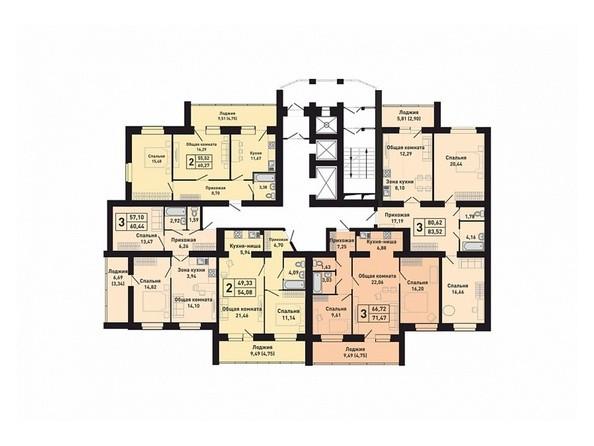 Планировки Жилой комплекс КРАСНООБСКИЙ, дом 230 - Подъезд 4. Планировка 2-6 этажей