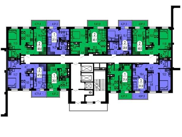Планировки Жилой комплекс ТИХИЕ ЗОРИ, дом 1 (Красстрой) - Блок-секция 4.Этажи 20-24