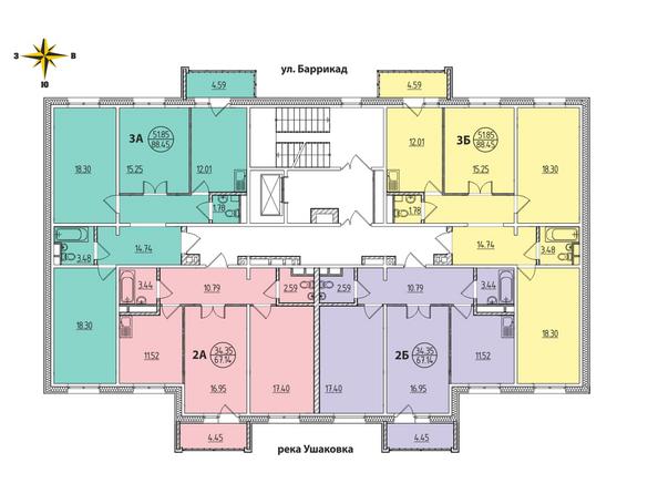 1 Блок-секция. Планировка типового этажа