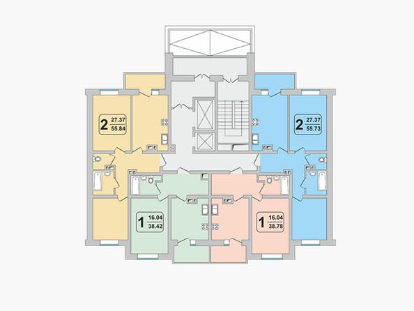 Планировки ГРАНД-ПАРК, б/с 2-1 - Блок-секция 2-1. Планировка 2 этажа