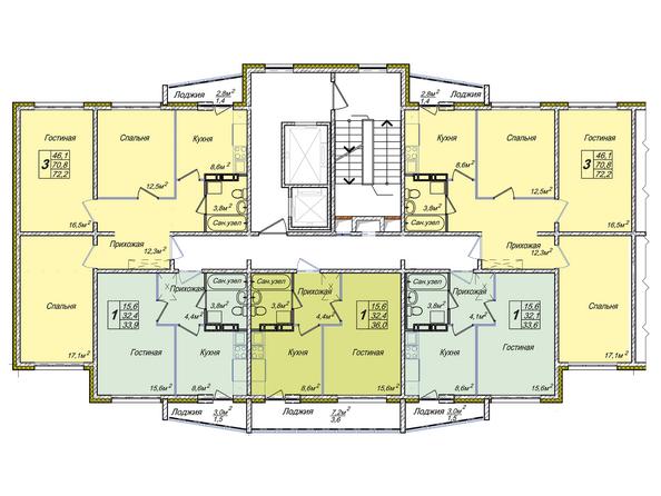 Планировки Жилой комплекс ВЕНЕЦИЯ-2, дом 4 - Подъезд 3. Планировка типового этажа