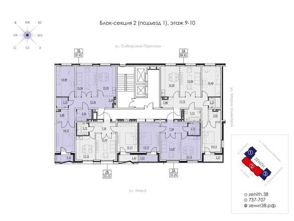 Подъезд 1. Планировка 9,10 этажа