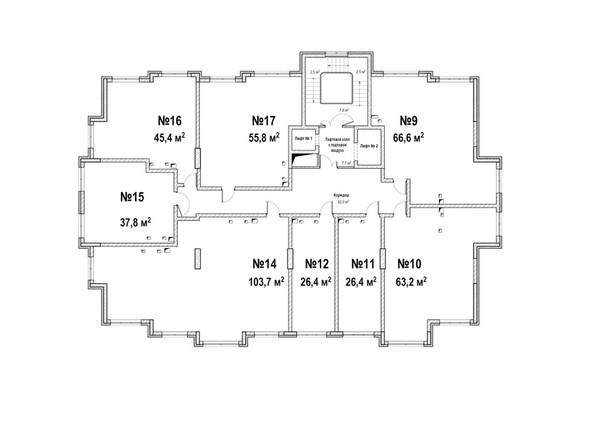 Планировки ЮЖНЫЙ, дом «Янтарный» - Планировка 2 этажа