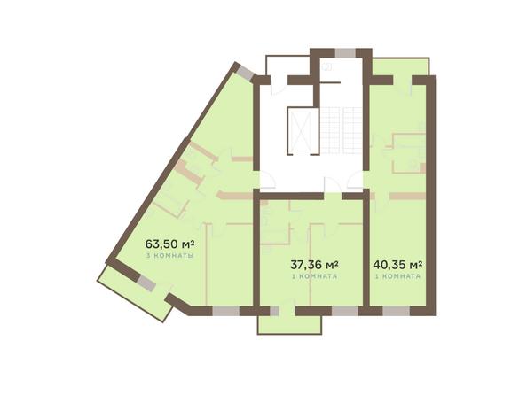 Планировки Жилой комплекс Академгородок, дом 1, корп 1 - Корпус 1. Подъезд 2. Планировка типового этажа