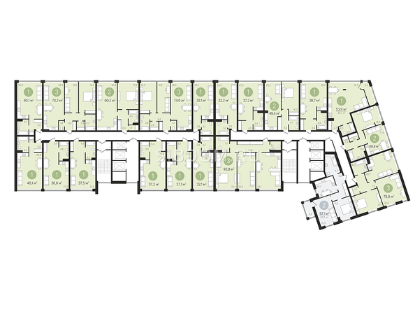 Планировки Жилой комплекс ПАНОРАМА, дом 3 - Планировка 2-4 этажей