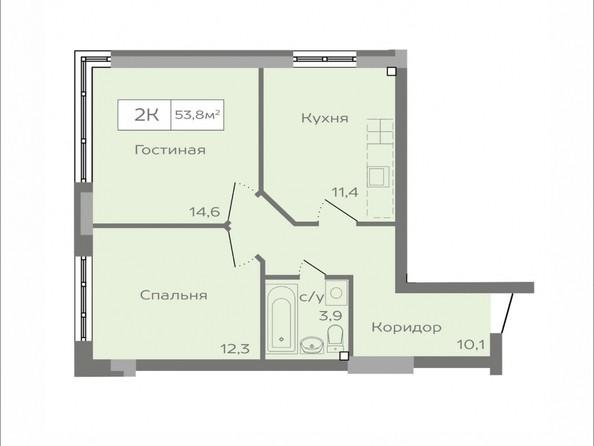 Продам 2-комнатную, 53.8 м², ПАРКОВЫЙ, дом 1. Фото 11.