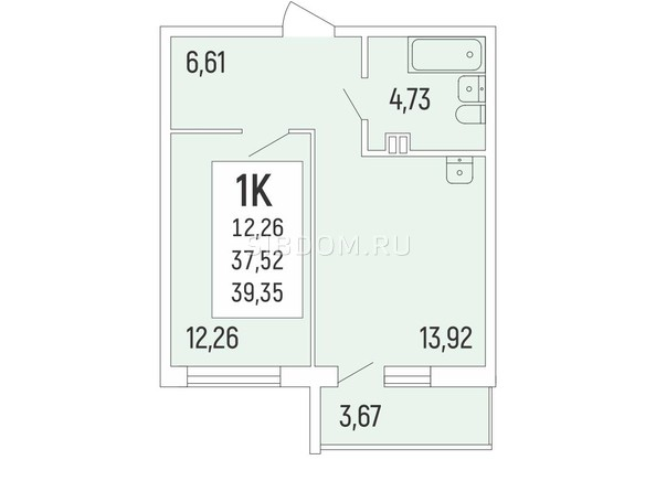 Продам 1-комнатную, 39.35 м2, Акация на Ватутина, дом 1. Фото 1.