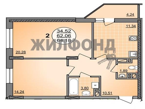 Продам 2-комнатную, 64.18 м2, ГУРЬЕВСКАЯ, дом 1, к2. Фото 13.